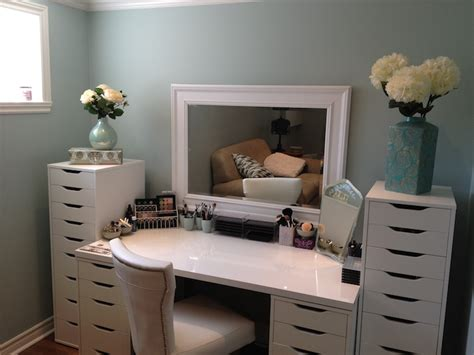 Makeup Vanity With Storage by Maggie S Makeup A Study In Seafoam