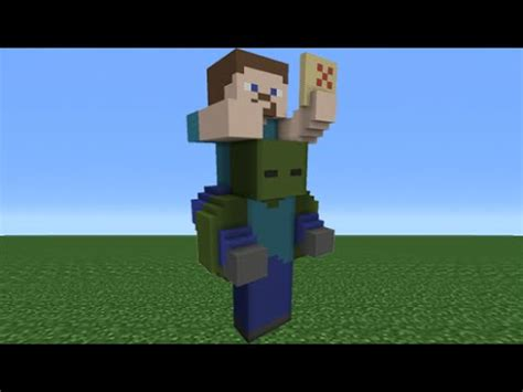 minecraft tutorial zombie statue minecraft tutorial how to make a steve riding a zombie
