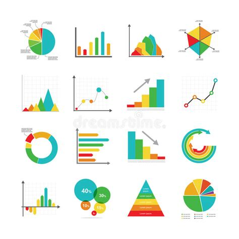graph and diagram icon set stock vector illustration of set of business marketing dot bar pie charts diagrams and