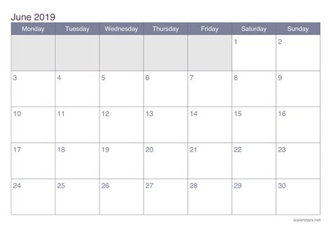 Calendario Junio June 2019 Printable Calendar Icalendars Net