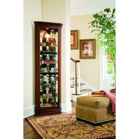 Corner Curio Cabinet With Fireplace Lighted Corner Curio Cabinet Decoration For Living Room