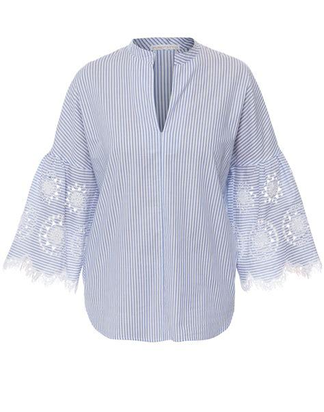 17205 Embroidered Poplin Blouse Blue White Size S M L white and blue striped embroidered poplin top purotatto halsbrook