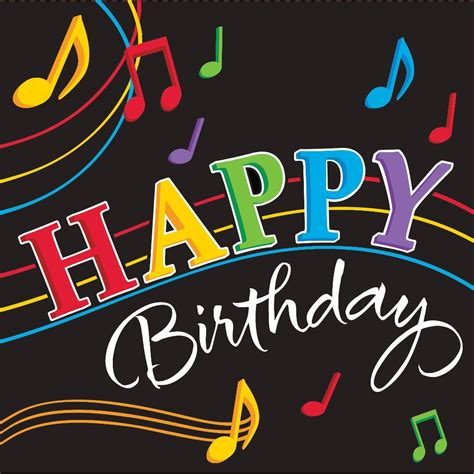 house music happy birthday dancing music notes lunch napkins 3 ply happy birthday