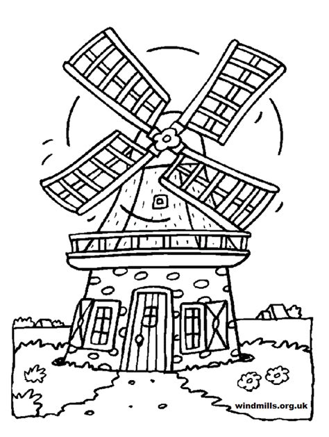 water mill coloring page colouring pictures windmills