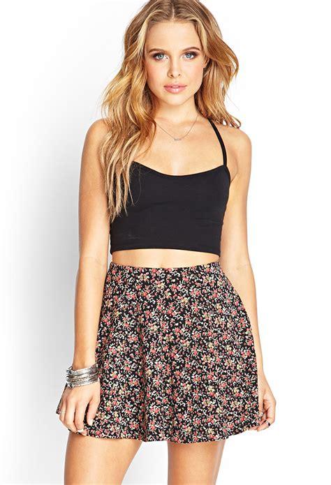 Mini Floral Skirt Black forever 21 floral mini wrap skirt in black lyst