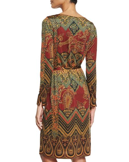 9615 Belted Paisley Print Dress etro paisley print belted dress brick