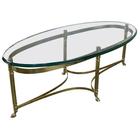 Oval Glass Coffee Table Italian Oval Brass And Glass Coffee Table 1940s At 1stdibs