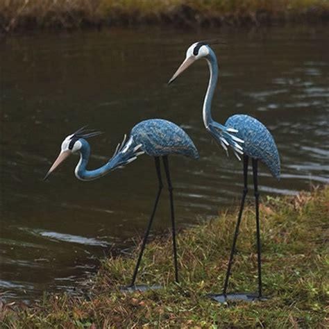 Blue Heron Futon by Great Blue Herons Outdoor Yard Garden Statue Sculpture In Powder Coated Steel Fastfurnishings