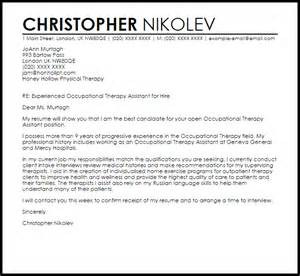 Therapy Aide Cover Letter by Occupational Therapy Assistant Cover Letter Sle Livecareer