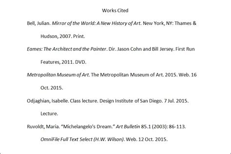 Mla Works Cited Essay by Tutorial Citing In Mla Design Institute Of San Diego