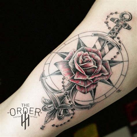 rose compass anchor sword tattoo the order custom tattoos