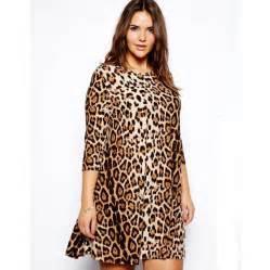 womens three quarter sleeve leopard dress high elastic