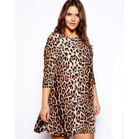Big Size Leopard Print Dress M 6xl Av14 womens three quarter sleeve leopard dress high elastic plus size dress summer wear casual