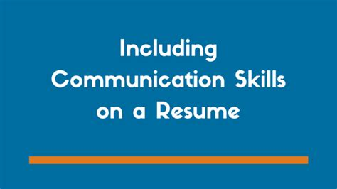 What To Write For Communication On A Resume