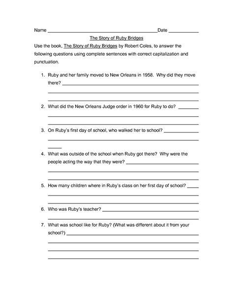 Ruby Bridges Worksheets 18 best images of ruby bridges worksheets ruby bridges