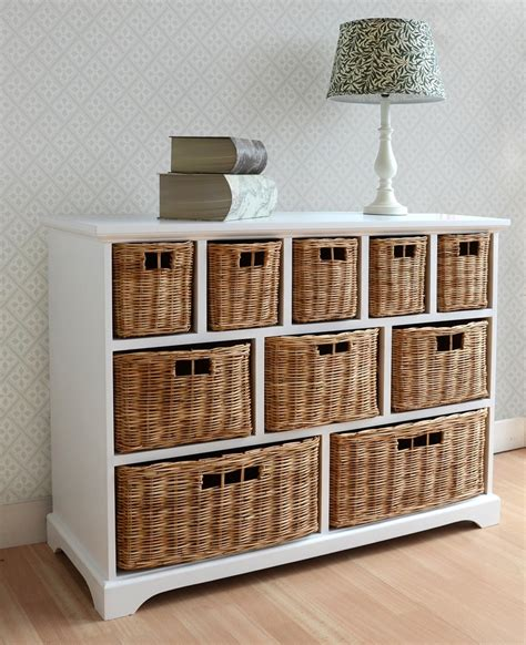 rattan chest of drawers furniture uk tetbury wide storage chest with wicker baskets bedroom