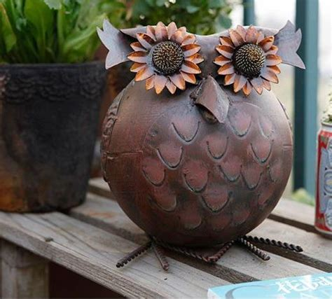 garden decorative vintage metal iron owl antique watering