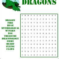 printable dragon puzzle dragons word search
