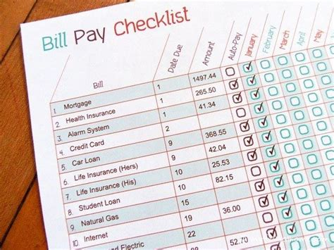 Printable Bill Pay Checklist Free Bill Payment Checklist Template