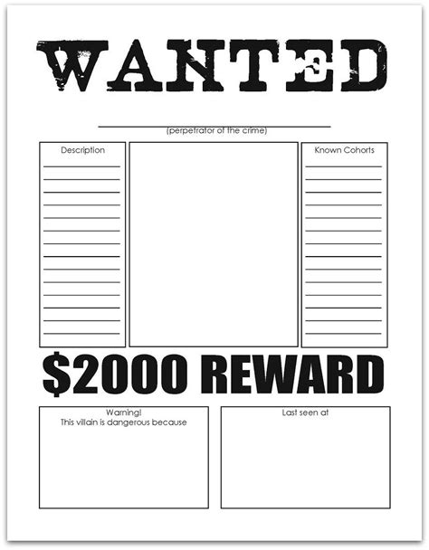 printable wanted poster template free wanted poster free printables writing