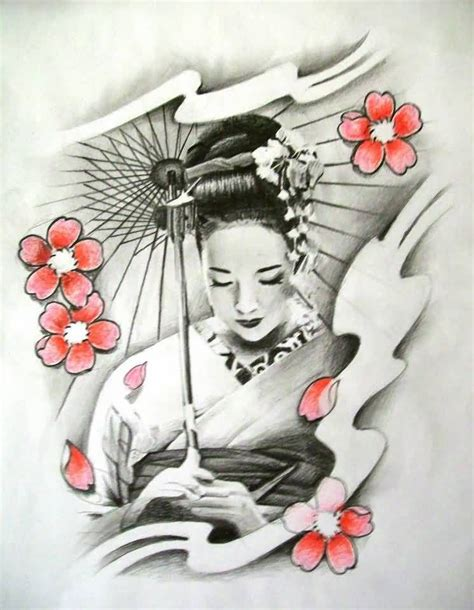 geisha girl tattoo design geisha cherry blossom n geisha design