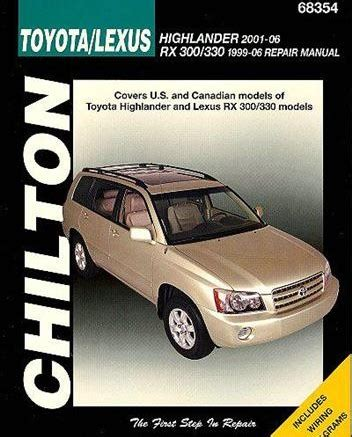 chilton car manuals free download 2003 toyota mr2 transmission control toyota highlander lexus rx300 1999 2006 repair manual