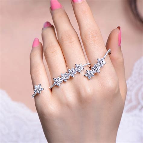 Flower Open Ring four finger ring with cubic zirconia flower open ring