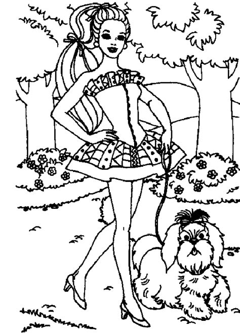 barbie cat coloring pages barbie coloring page barbie walking dog all kids network