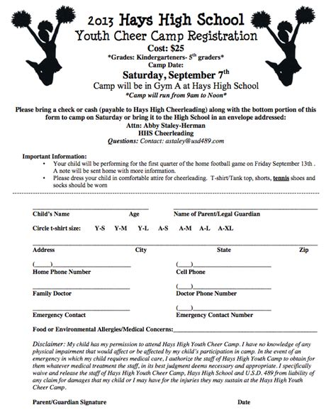 Cheer C Set For Hays High Cheerleading Registration Form Template