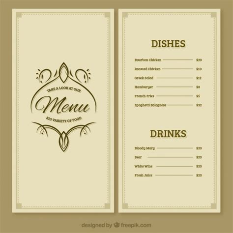 free restaurant menu template restaurant menu template vector free