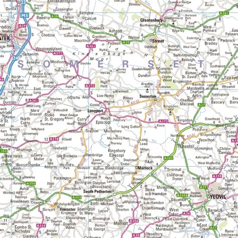 road map uk south west south wales regional road wall map