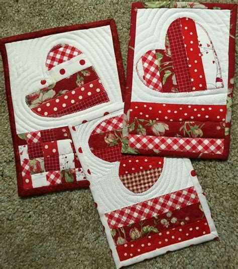 Patchwork Gifts Free Patterns - pretty white patchwork mug rugs pinteres
