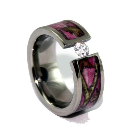 pink camo wedding rings engagement camo wedding