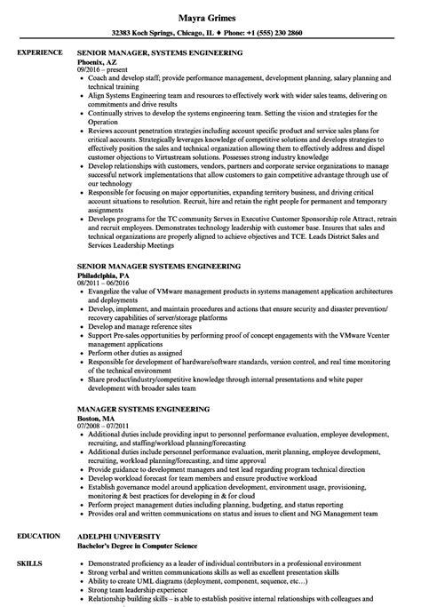 Systems Engineering Manager Sle Resume by Manager Systems Engineering Resume Sles Velvet