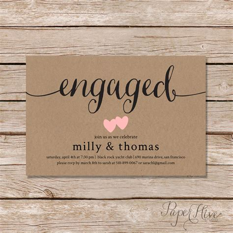 engagement invitations engagement invitation rustic couples shower by