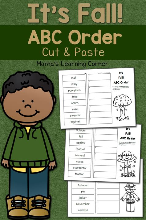 Fall Cut And Paste Worksheets by Fall Cut And Paste Abc Order Worksheets Mamas Learning