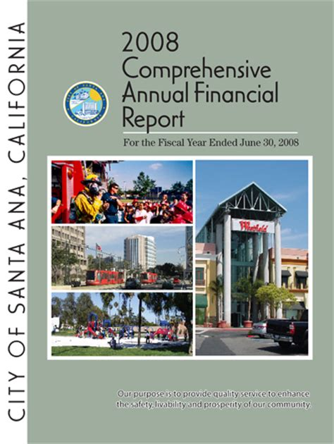 Gfoa Transmittal Letter 2008 Comprehensive Annual Financial Report Cafr City Of Santa