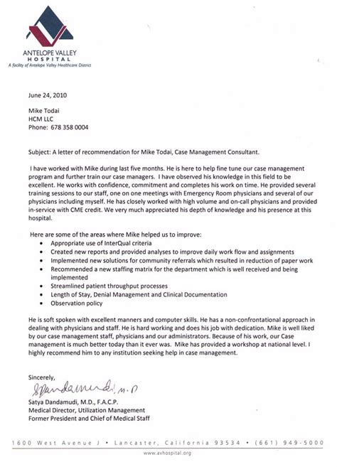 Recommendation Letter Physician Client S Letters Hospital Management Llc