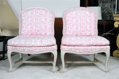 Floral Chairs For Sale Pink And White Floral Slipper Side Chairs For Sale At 1stdibs