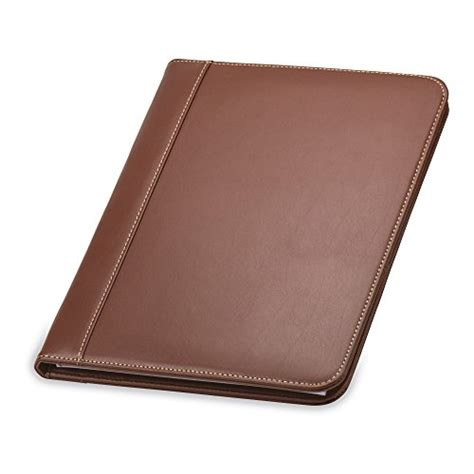 samsill contrast stitch leather padfolio lightweight stylish business portfolio for