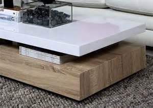 Table Basse Blanc Laque Et Bois