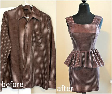 Kitchen Remake Ideas by Trash To Couture Mens Shirt Refashion Peplum Dress