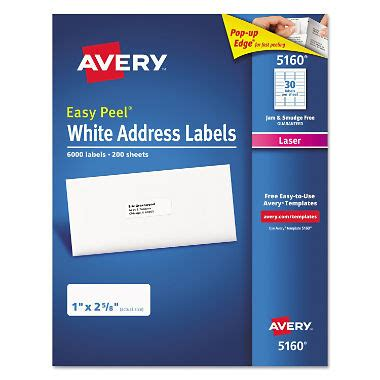 Avery 174 5160 Easy Peel Address Labels Laser 1 X 2 5 8 White 6 000 Labels Sam S Club Avery 1 X 2 Label Template