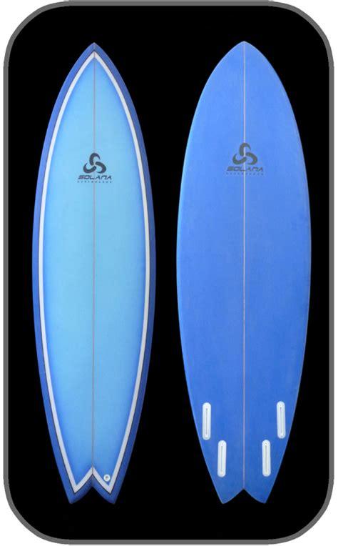blue hybrid quad fish surfboard