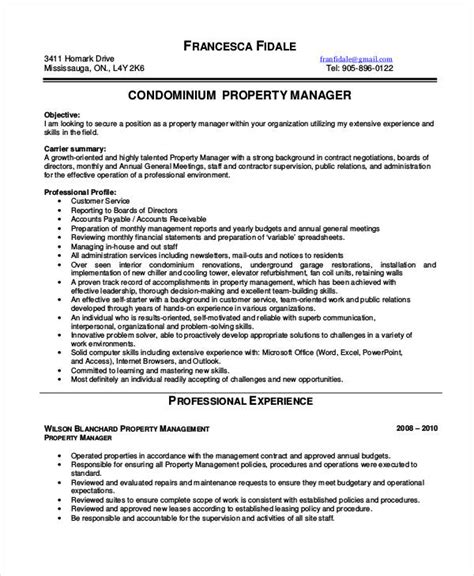 Free Sle Property Manager Resume Property Manager Resume 9 Free Word Pdf Documents Free Premium Templates