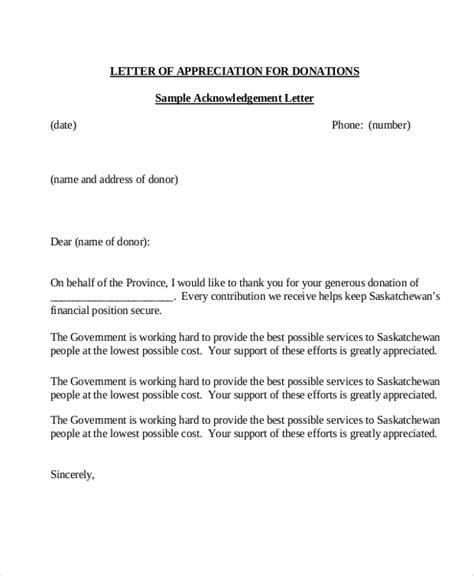 charity letter of appreciation sle donation letter 10 exles in word pdf
