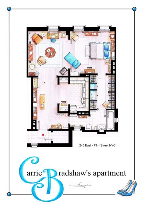 carrie bradshaw apartment floor plan carrie bradhsaw s apartment as a poster you can buy an