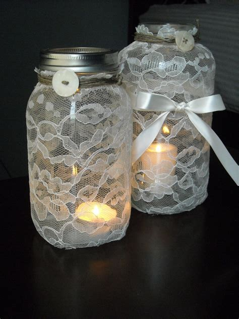 chic wedding centerpiece lace mason jar with bow
