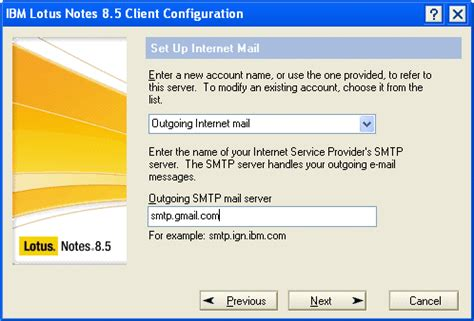 lotus notes smtp how to install configure lotus notes 8 5 client