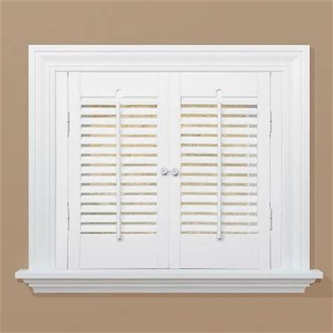 Interior Shutters Home Depot Homebasics Traditional Real Wood Snow Interior Shutter Price Varies By Size Qstc2336 The